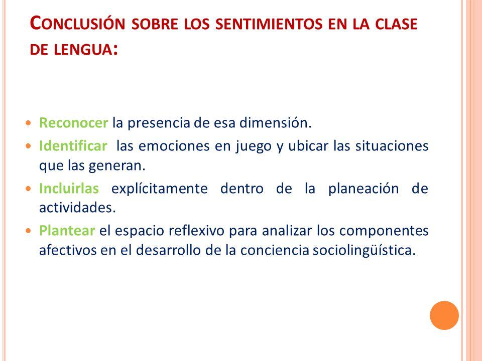 Conclusión sobre los sentimientos en la clase de lengua: