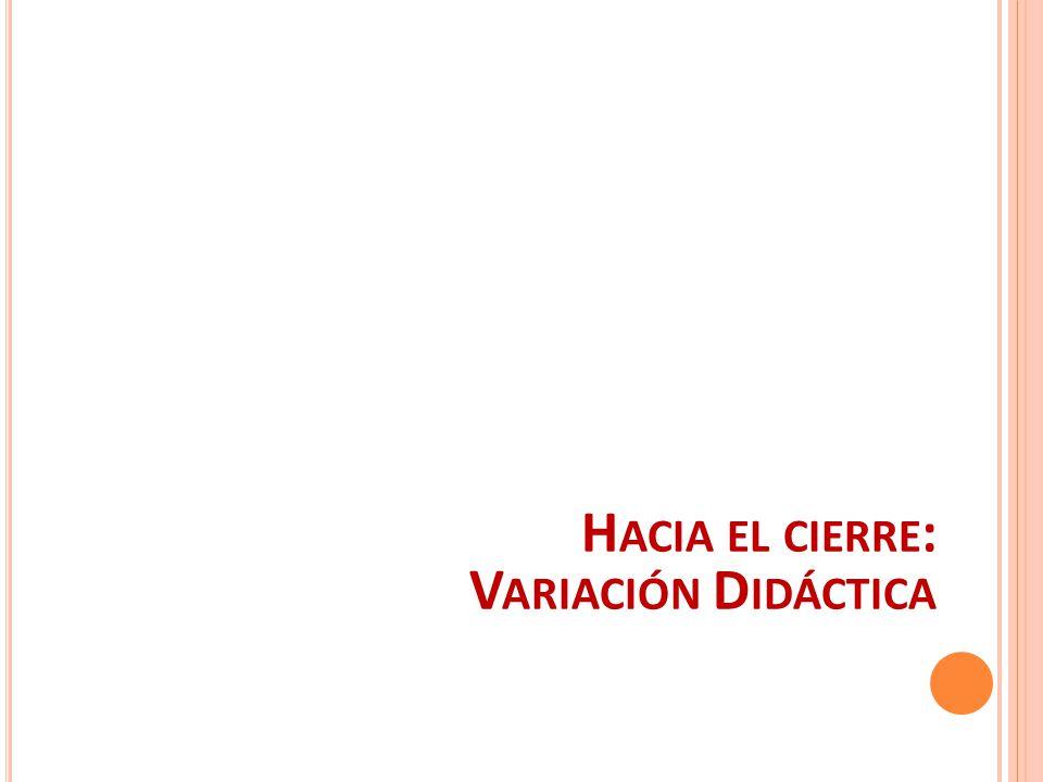 Hacia el cierre: Variación Didáctica