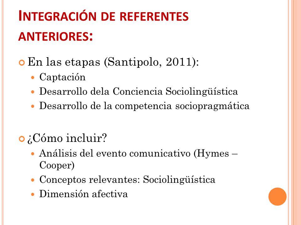 Integración de referentes anteriores: