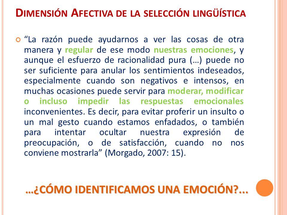 Dimensión Afectiva de la selección lingüística
