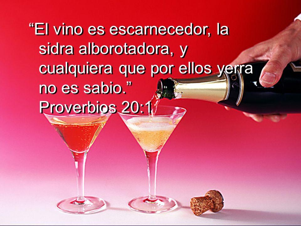 El vino es escarnecedor, la sidra alborotadora, y cualquiera que por ellos yerra no es sabio. Proverbios 20:1