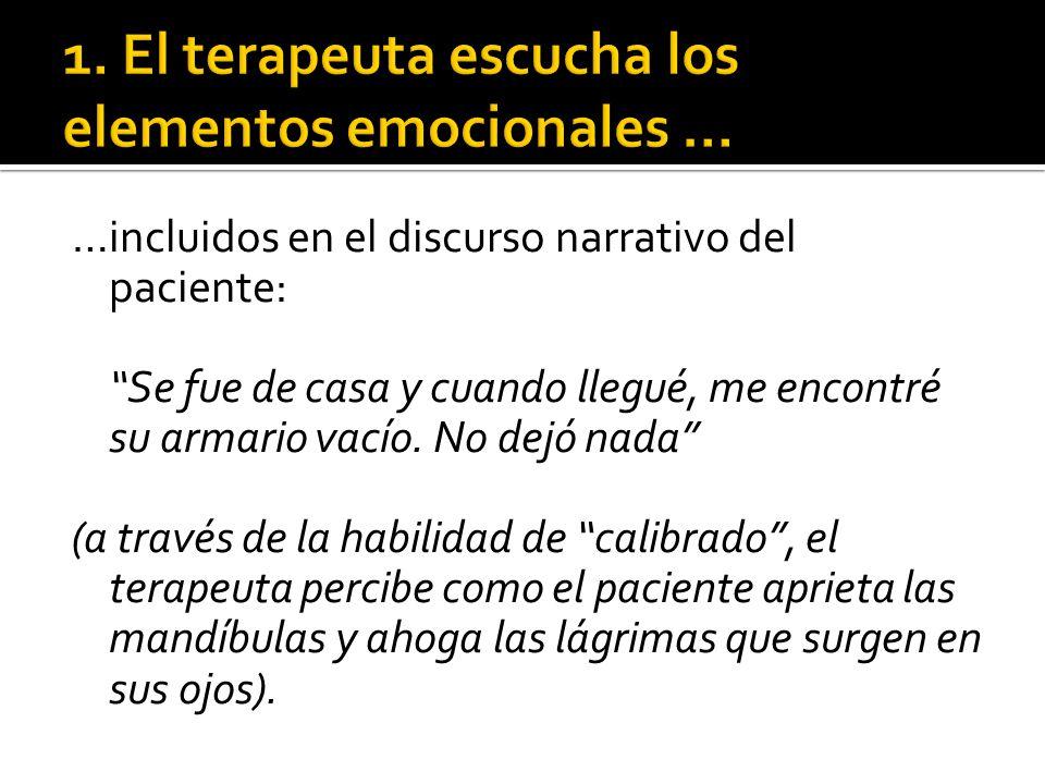 1. El terapeuta escucha los elementos emocionales …