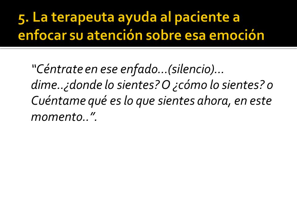 5. La terapeuta ayuda al paciente a enfocar su atención sobre esa emoción