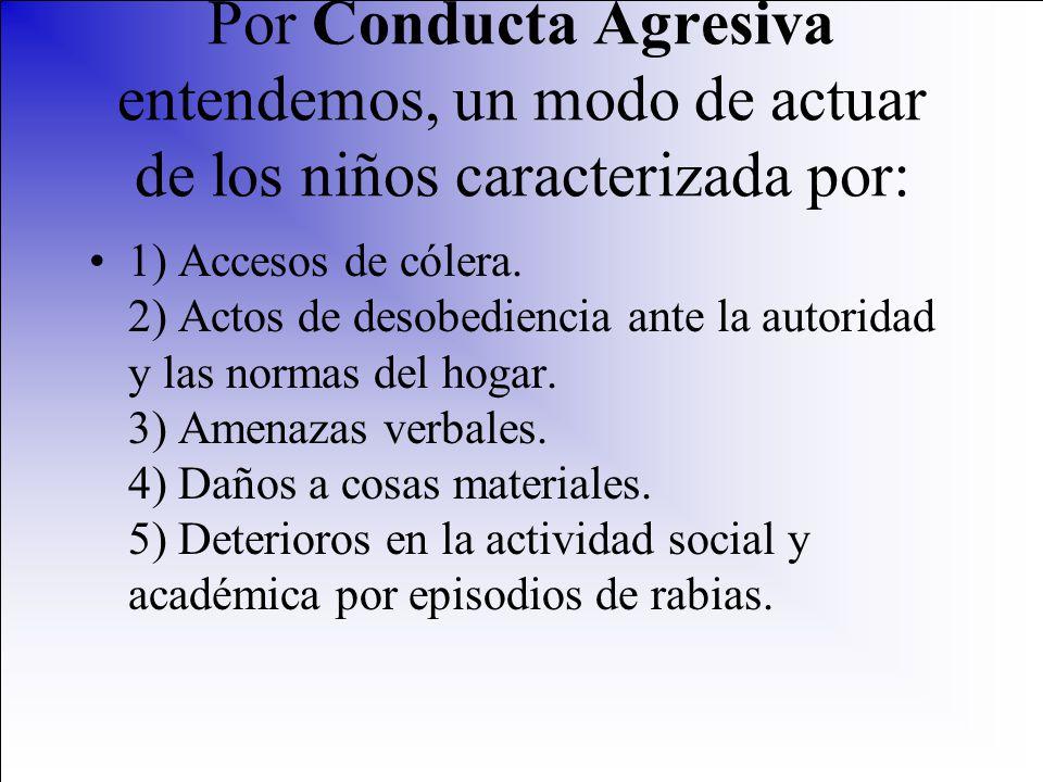 Por Conducta Agresiva entendemos, un modo de actuar de los niños caracterizada por: