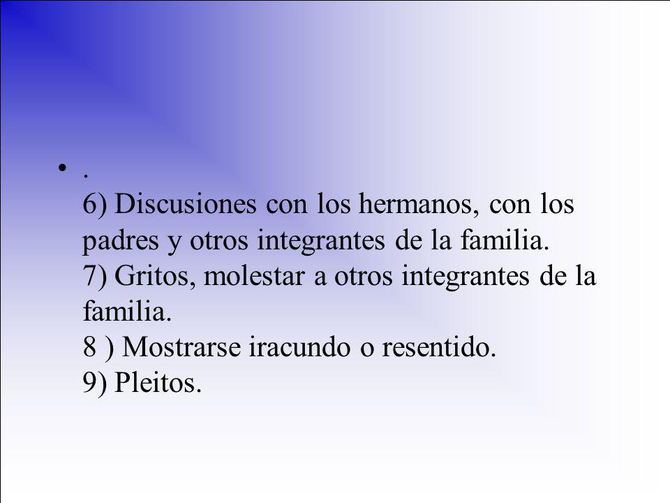 6) Discusiones con los hermanos, con los padres y otros integrantes de la familia.