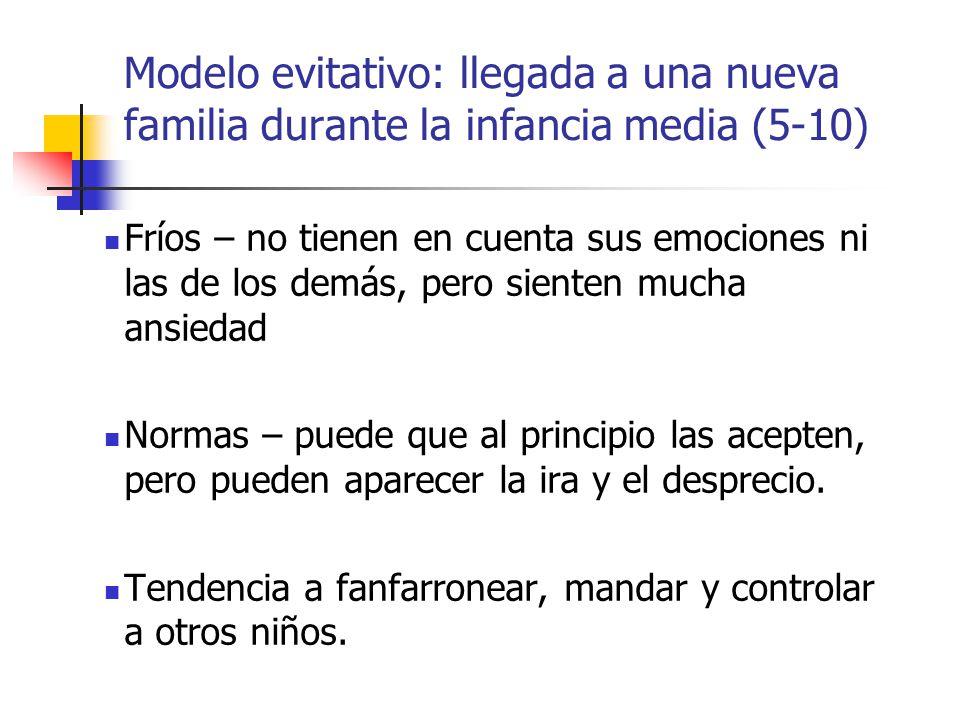 Modelo evitativo: llegada a una nueva familia durante la infancia media (5-10)