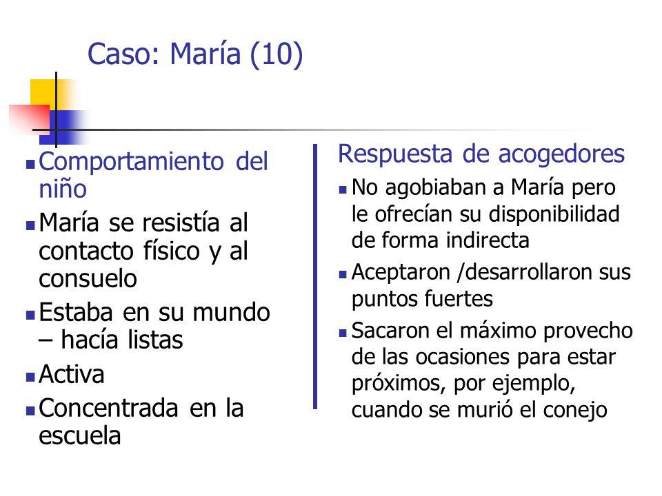 Caso: María (10) Respuesta de acogedores Comportamiento del niño