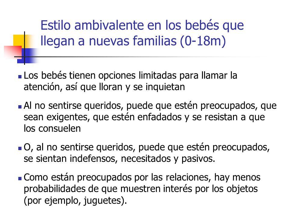 Estilo ambivalente en los bebés que llegan a nuevas familias (0-18m)