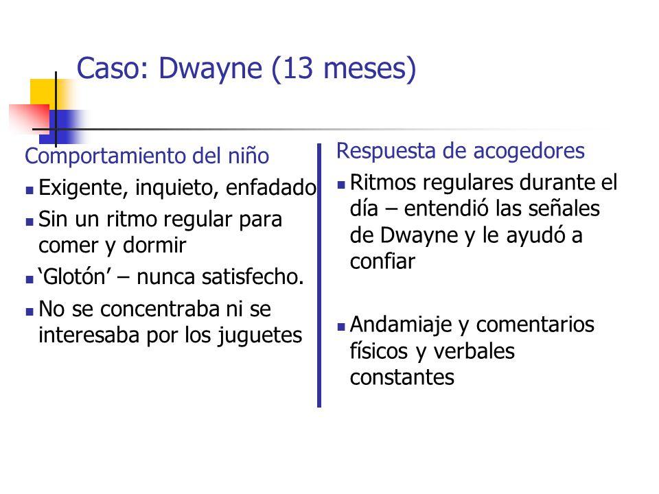 Caso: Dwayne (13 meses) Respuesta de acogedores