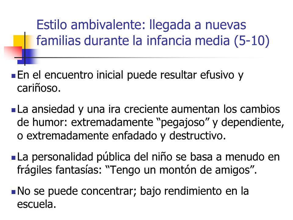 Estilo ambivalente: llegada a nuevas familias durante la infancia media (5-10)