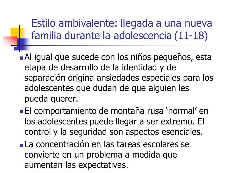 Estilo ambivalente: llegada a una nueva familia durante la adolescencia (11-18)