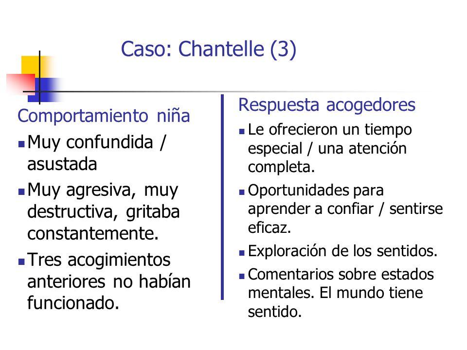 Caso: Chantelle (3) Respuesta acogedores Comportamiento niña
