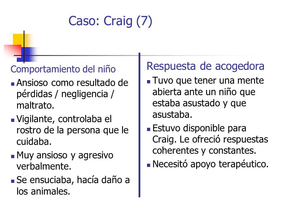 Caso: Craig (7) Respuesta de acogedora Comportamiento del niño
