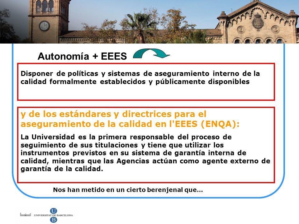 Autonomía + EEES Disponer de políticas y sistemas de aseguramiento interno de la calidad formalmente establecidos y públicamente disponibles.