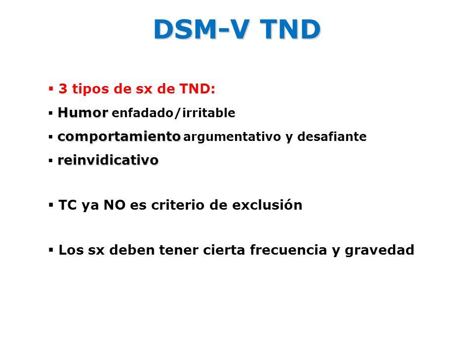 DSM-V TND 3 tipos de sx de TND: TC ya NO es criterio de exclusión