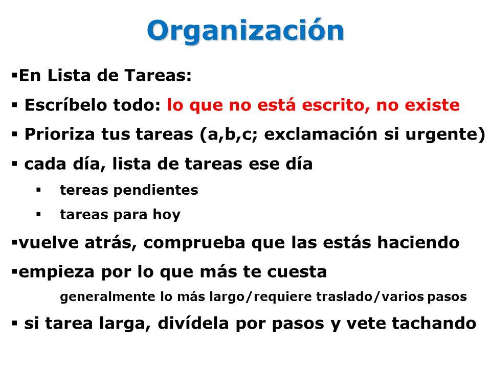 Organización En Lista de Tareas: