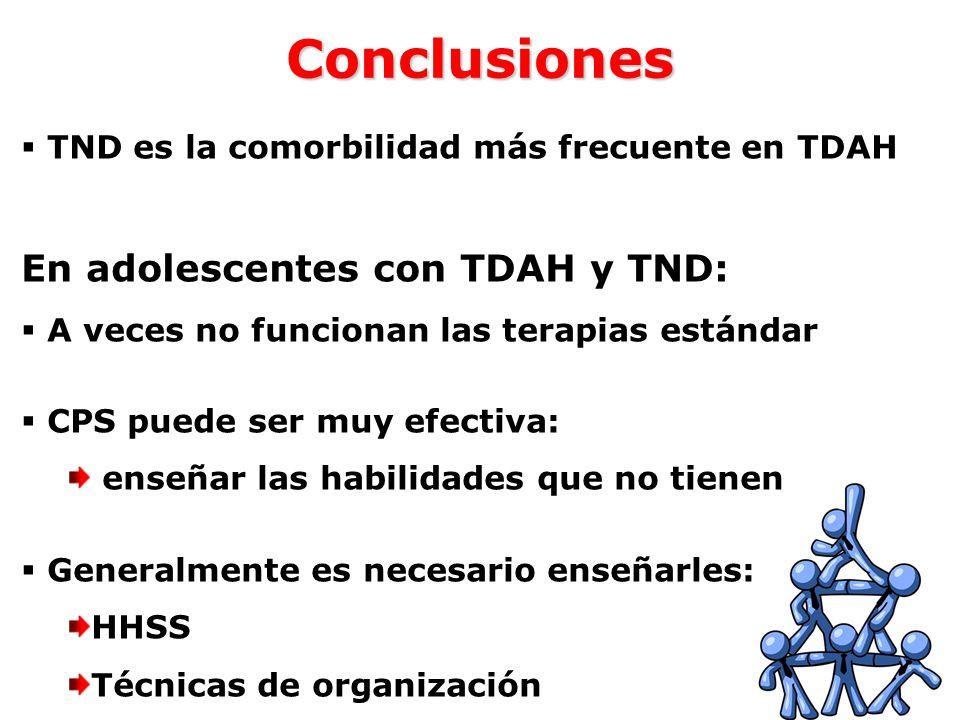 Conclusiones En adolescentes con TDAH y TND:
