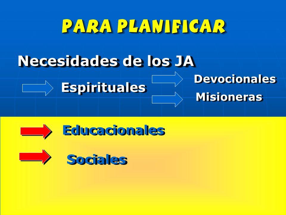 para planificar Necesidades de los JA Espirituales Educacionales