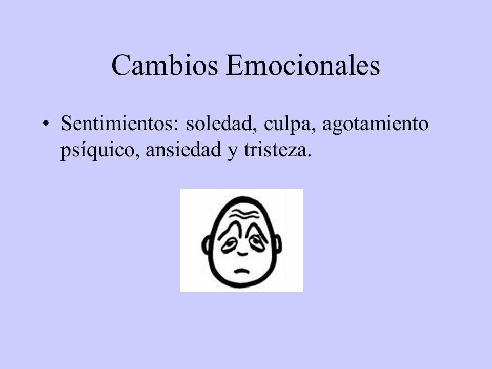 Cambios Emocionales Sentimientos: soledad, culpa, agotamiento psíquico, ansiedad y tristeza.
