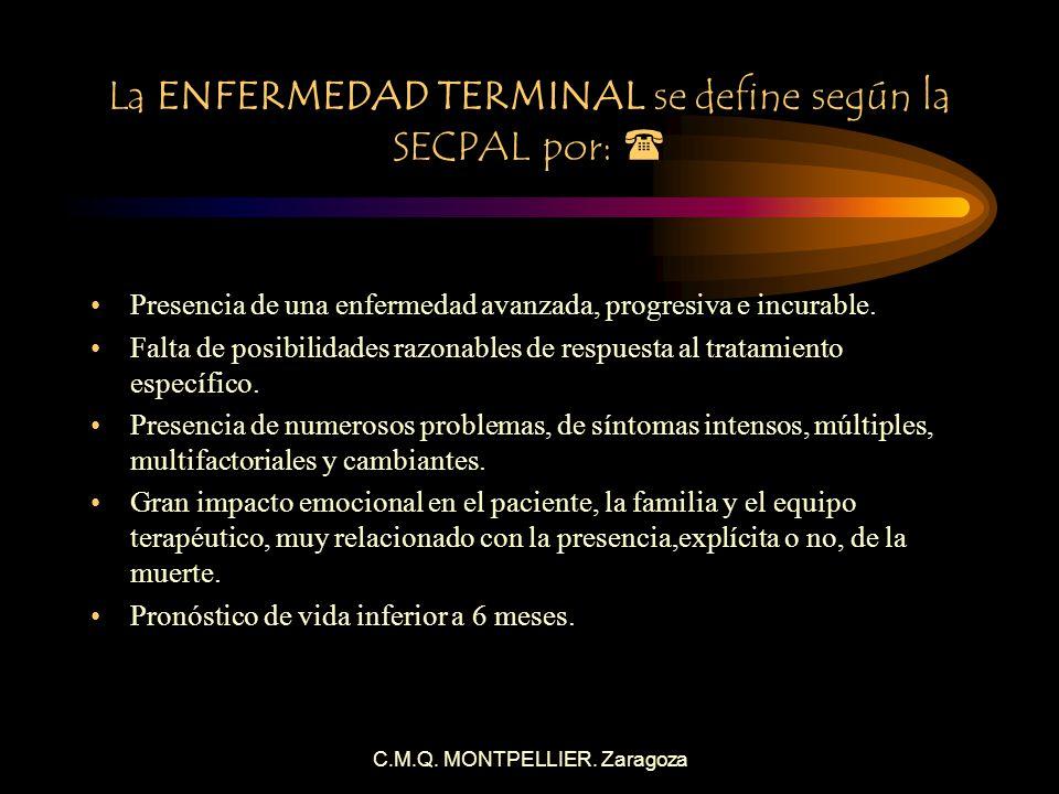 La ENFERMEDAD TERMINAL se define según la SECPAL por: 