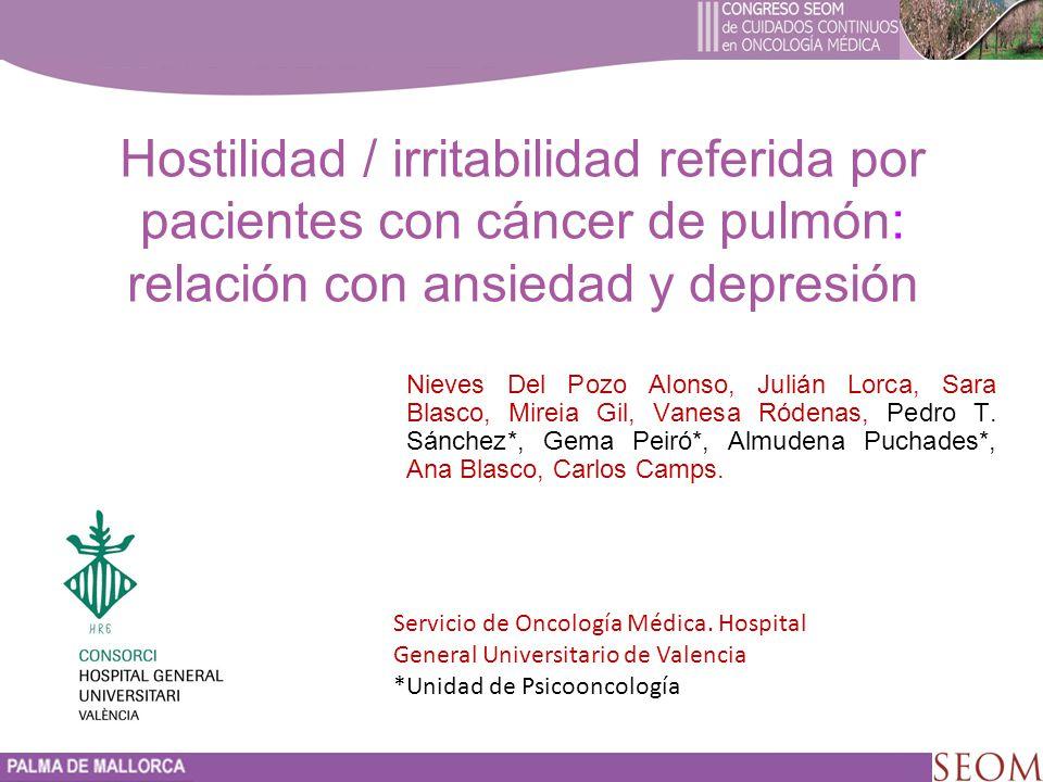 Hostilidad / irritabilidad referida por pacientes con cáncer de pulmón: relación con ansiedad y depresión