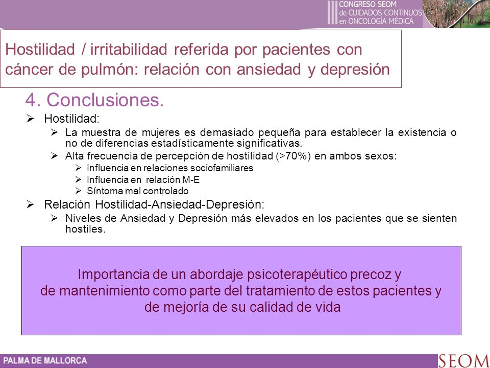 4. Conclusiones. Hostilidad / irritabilidad referida por pacientes con