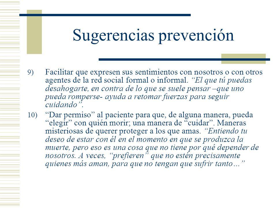 Sugerencias prevención
