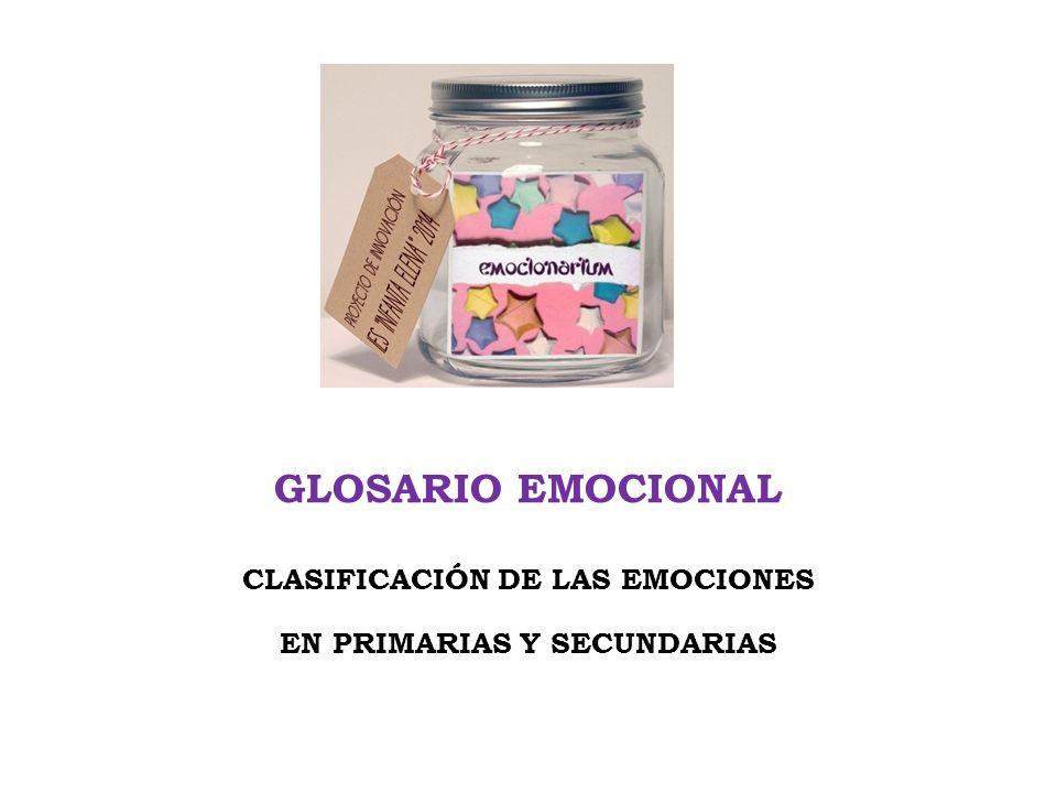 GLOSARIO EMOCIONAL CLASIFICACIÓN DE LAS EMOCIONES EN PRIMARIAS Y SECUNDARIAS