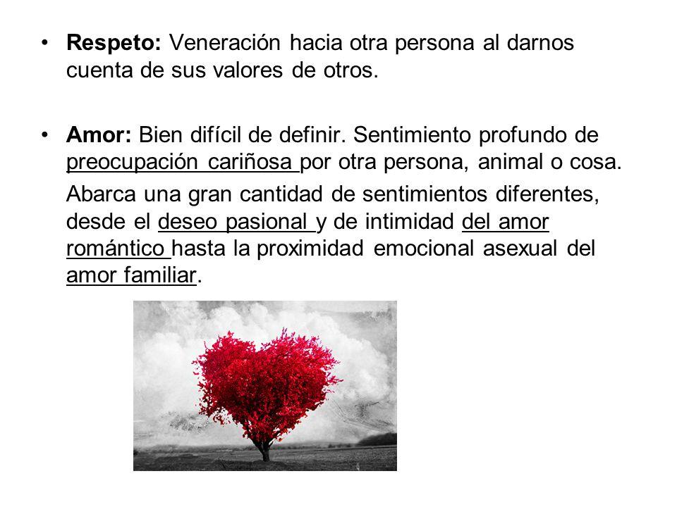 Respeto: Veneración hacia otra persona al darnos cuenta de sus valores de otros.