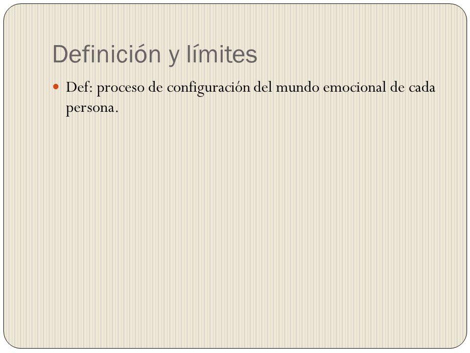 Definición y límites Def: proceso de configuración del mundo emocional de cada persona.