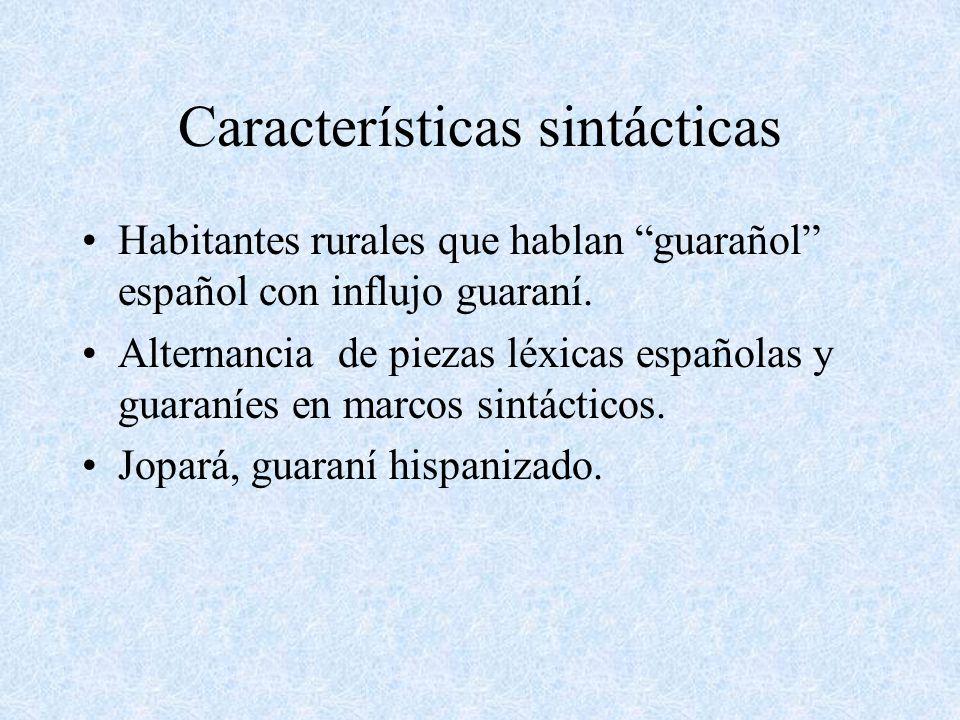 Características sintácticas