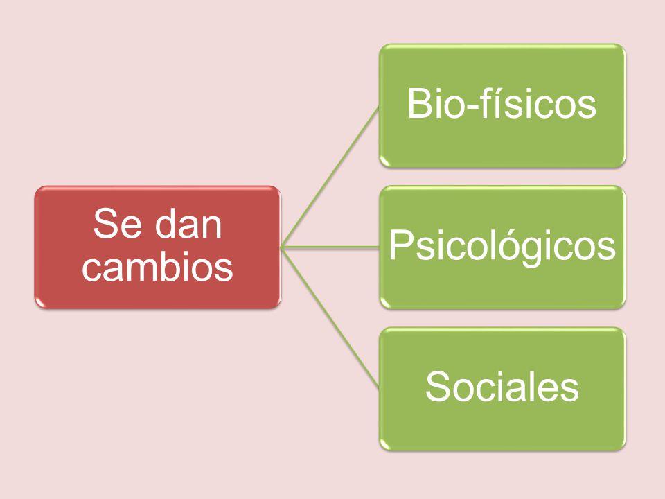 Se dan cambios Bio-físicos Psicológicos Sociales