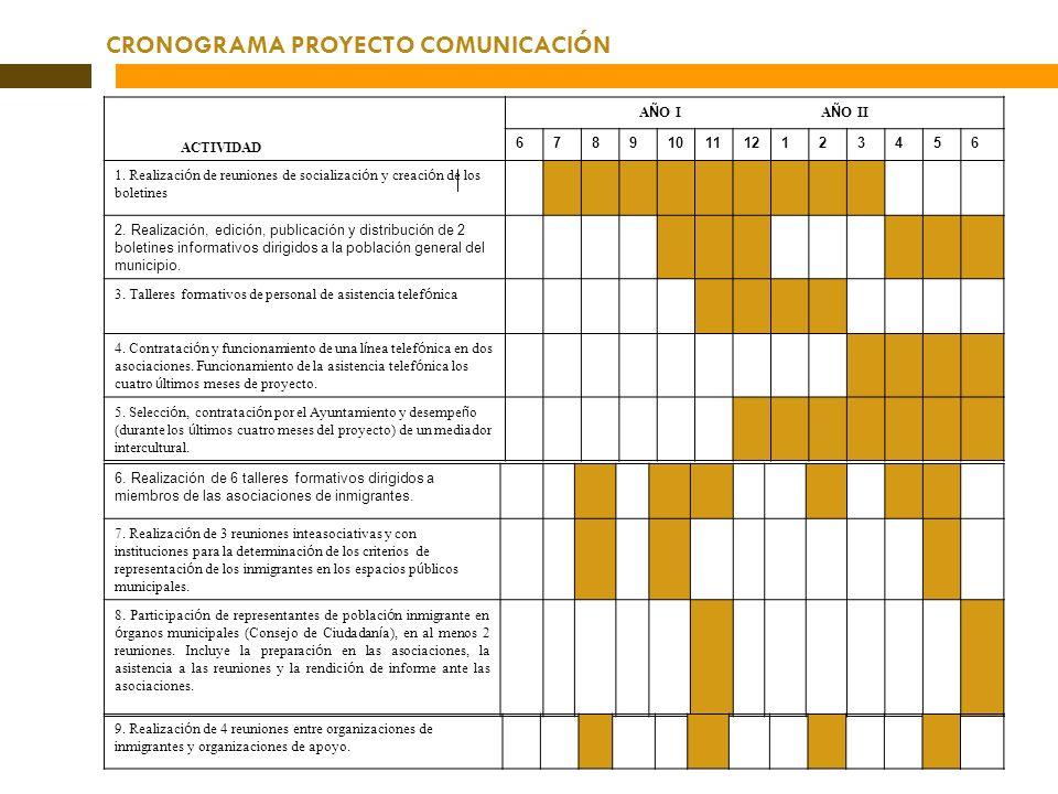 CRONOGRAMA PROYECTO COMUNICACIÓN