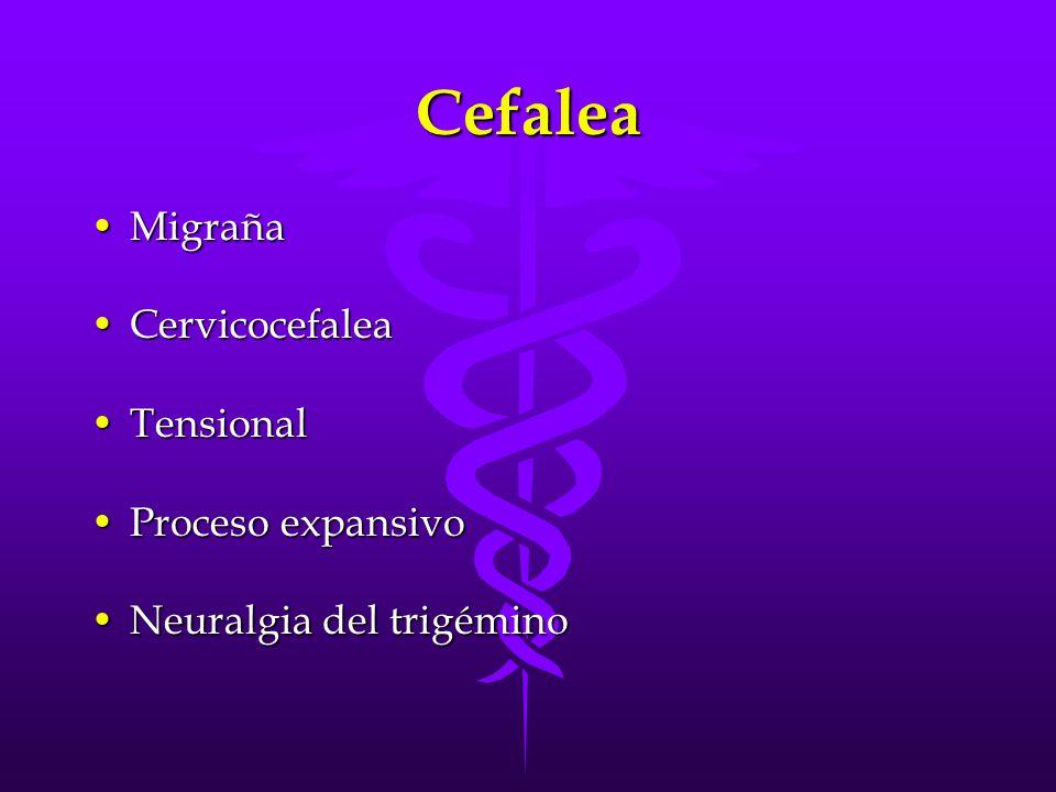 Cefalea Migraña Cervicocefalea Tensional Proceso expansivo