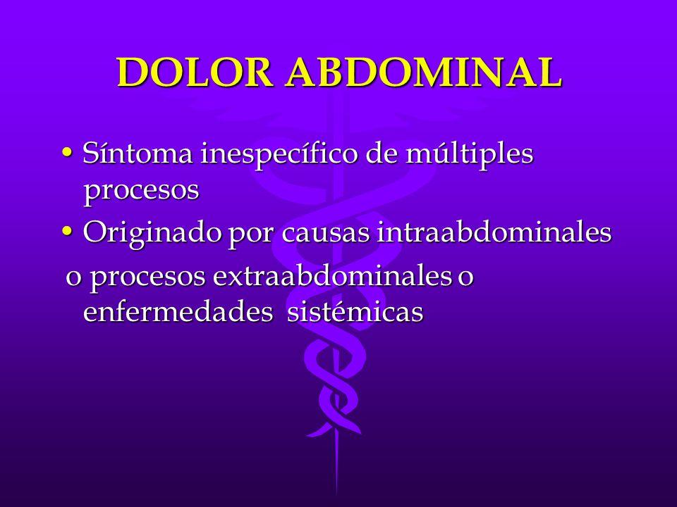 DOLOR ABDOMINAL Síntoma inespecífico de múltiples procesos