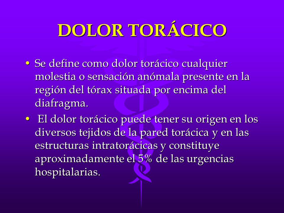 DOLOR TORÁCICO Se define como dolor torácico cualquier molestia o sensación anómala presente en la región del tórax situada por encima del diafragma.