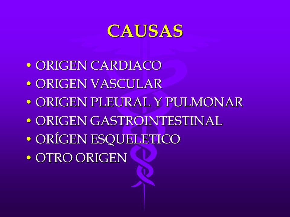 CAUSAS ORIGEN CARDIACO ORIGEN VASCULAR ORIGEN PLEURAL Y PULMONAR