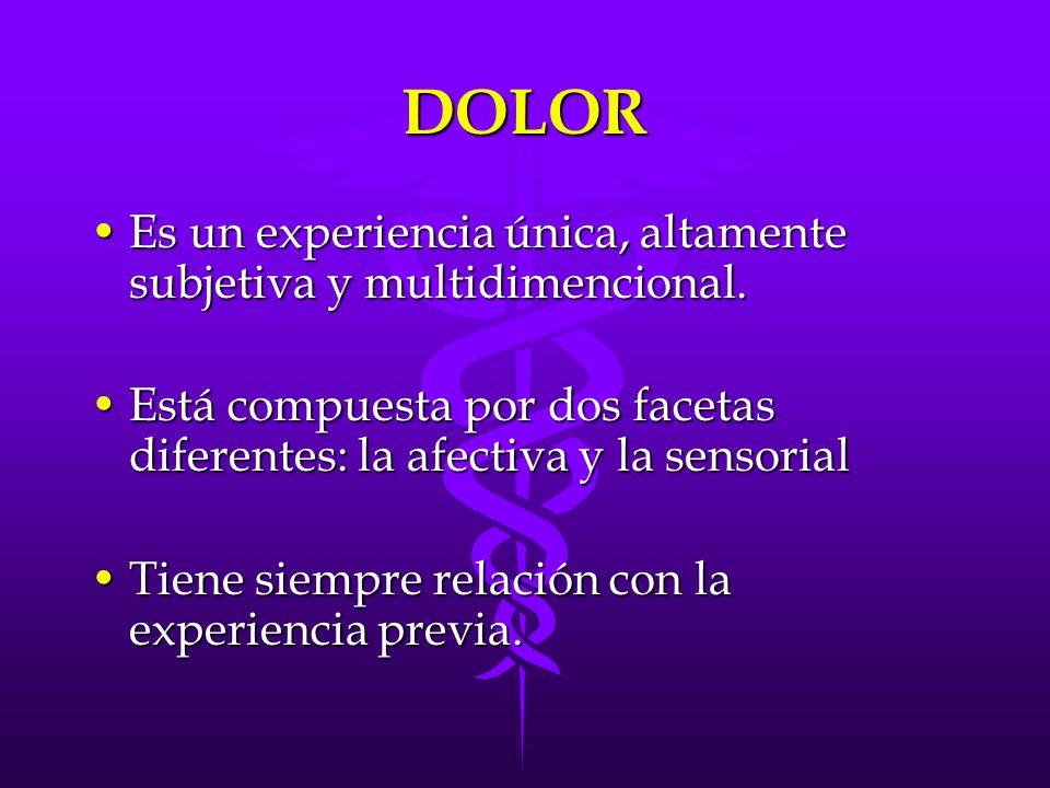 DOLOR Es un experiencia única, altamente subjetiva y multidimencional.