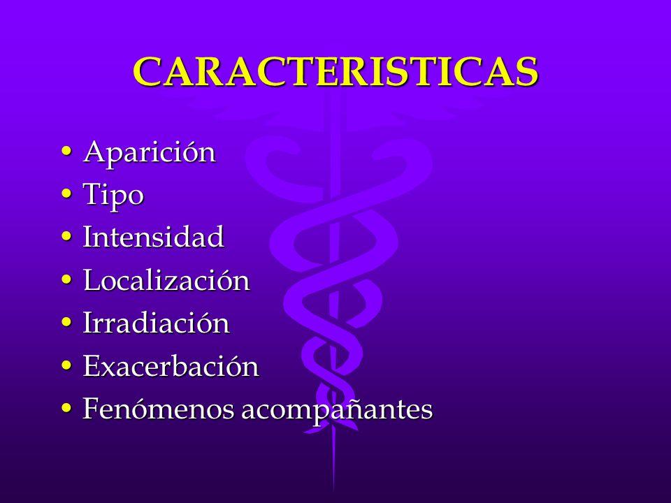 CARACTERISTICAS Aparición Tipo Intensidad Localización Irradiación