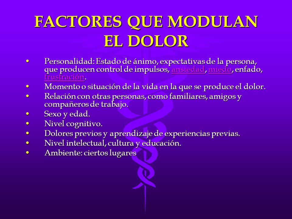 FACTORES QUE MODULAN EL DOLOR