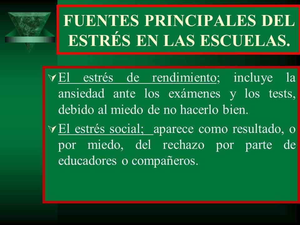 FUENTES PRINCIPALES DEL ESTRÉS EN LAS ESCUELAS.