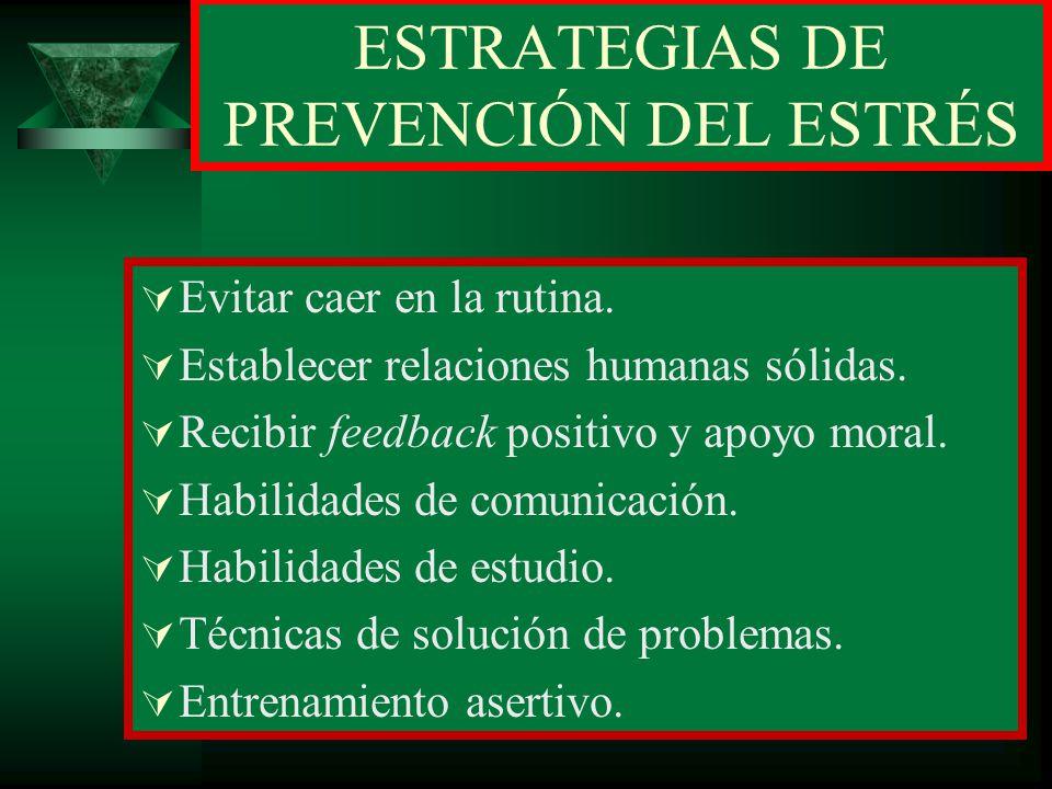 ESTRATEGIAS DE PREVENCIÓN DEL ESTRÉS