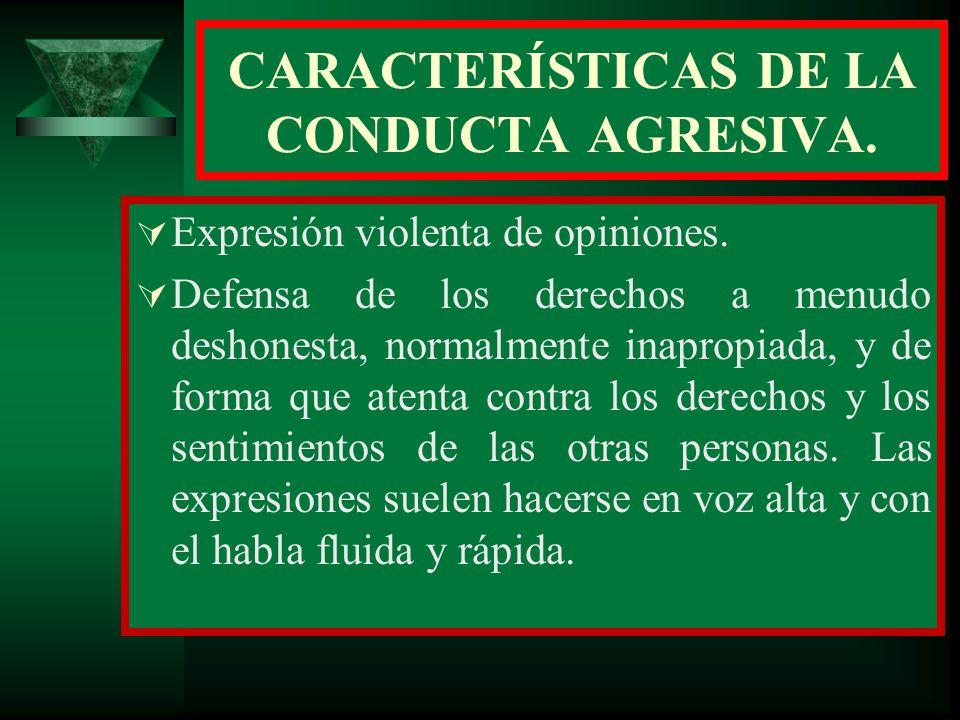 CARACTERÍSTICAS DE LA CONDUCTA AGRESIVA.