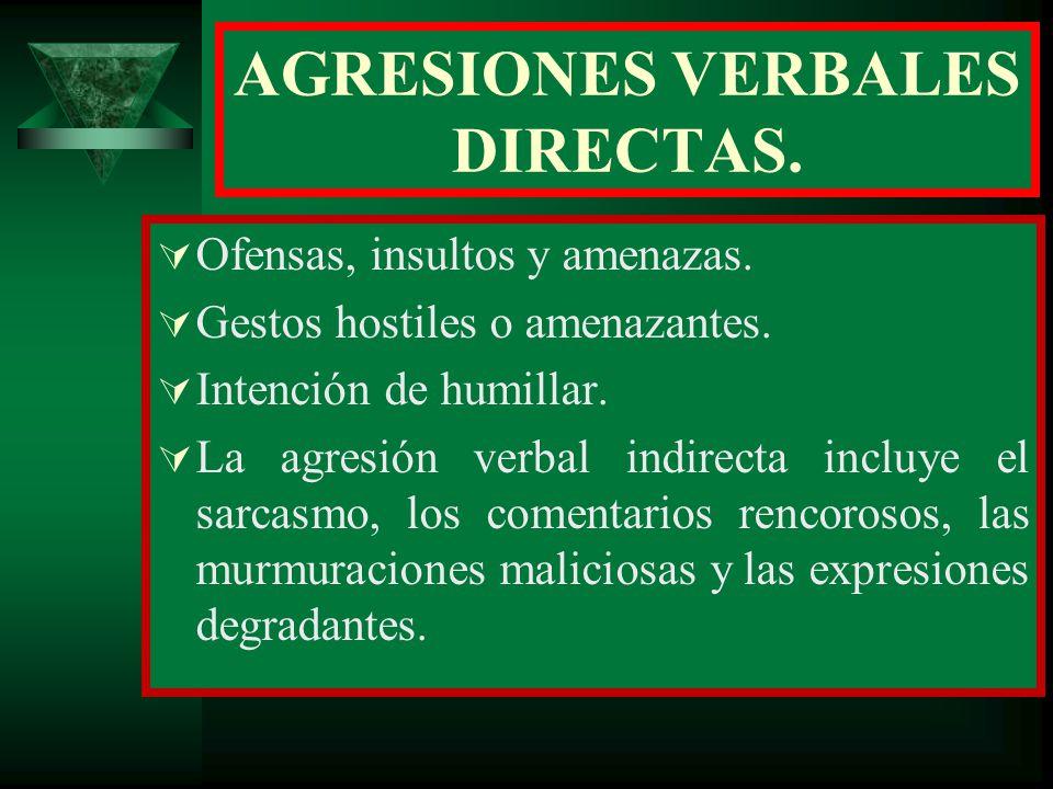 AGRESIONES VERBALES DIRECTAS.