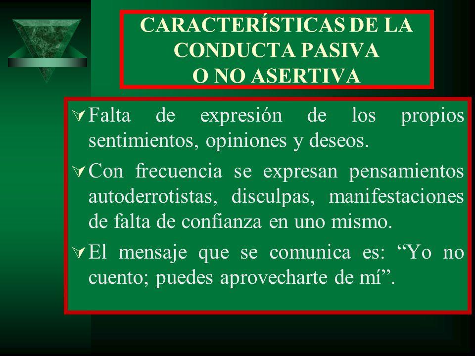 CARACTERÍSTICAS DE LA CONDUCTA PASIVA O NO ASERTIVA