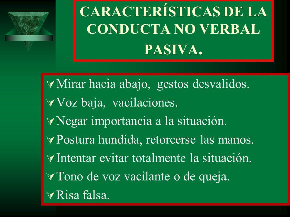 CARACTERÍSTICAS DE LA CONDUCTA NO VERBAL PASIVA.