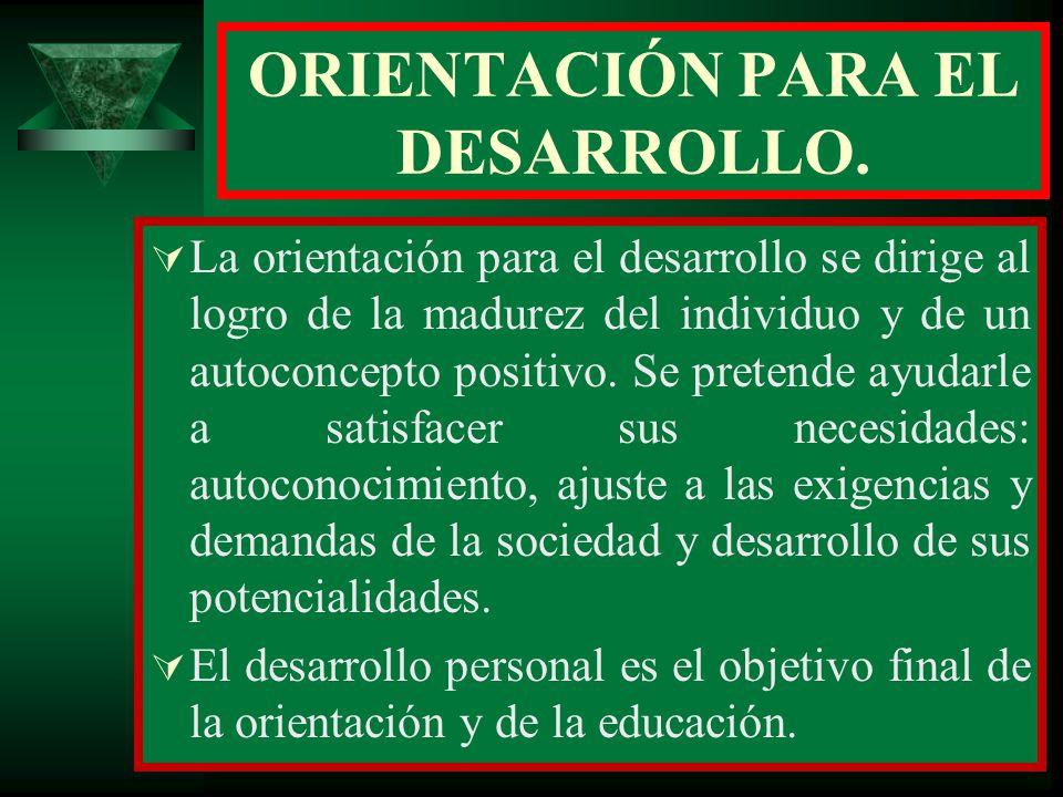 ORIENTACIÓN PARA EL DESARROLLO.