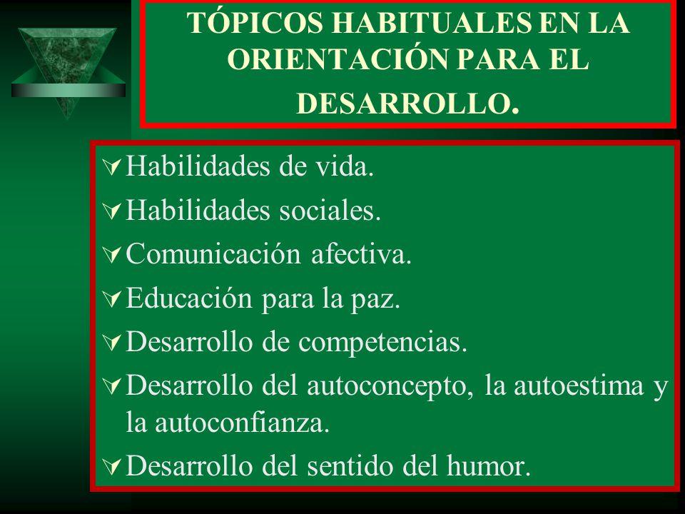 TÓPICOS HABITUALES EN LA ORIENTACIÓN PARA EL DESARROLLO.