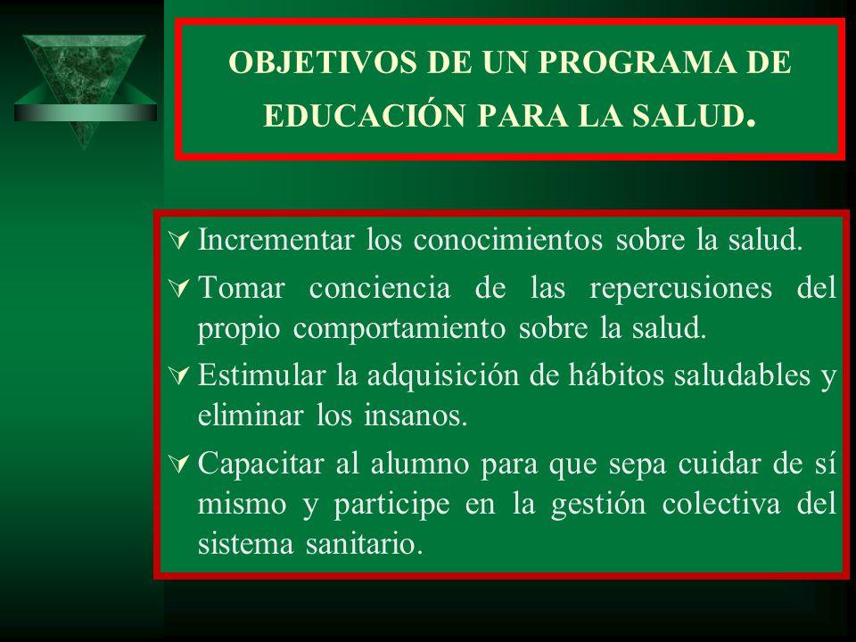 OBJETIVOS DE UN PROGRAMA DE EDUCACIÓN PARA LA SALUD.