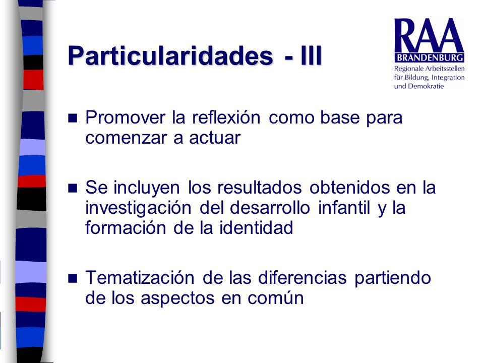 Particularidades - III